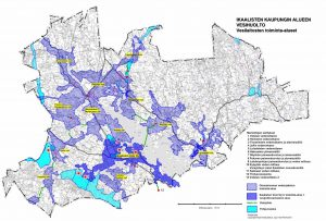 Kuvassa Ikaalisten kaupungin alueen vesihuolto ja vesilaitosten toiminta-alueet