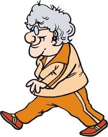 Piirrustus vanhasta henkilöstä kävelemässä