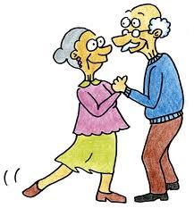 Piirrustus kahdesta vanhuksesta tanssimassa