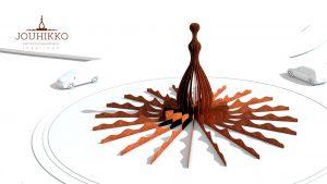 Jouhikko muodostuu 20:stä Corten-teräksestä polttoleikatusta siivekkeestä. Nämä siivekkeet kiertyvät 360-astetta teoksen keskiviivan ympärille muodostaen teoksen hehmon. - Samu Aarnio