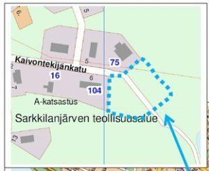 Karttakuva Sarkkilanjärven teollisuusalueesta, johon on vireillä asemakaava muutos.