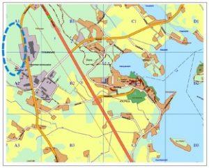 Karttakuva Teikankaan teollisuusalueesta.
