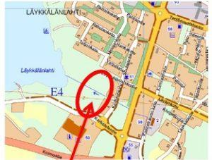 Karttakuva Läykkälänlahden (8) asemakaavan laajennuksesta.