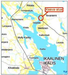 Karttakuva Kaurarannan ranta-asemakaavasta.