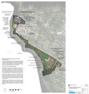 Karttakuva joka on vielä kuvitus-aseteella. Puistomainen liikuntaympäristö arvokkaassa rakennetussa kulttuurimaisemassa.