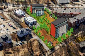 Kuvassa suunnitellaan uusilla kerrostaloille paikkoja asuinalueelle.
