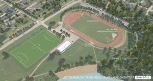 Havainneilmakuva yleisurheilu ja jalkapallokentistä.