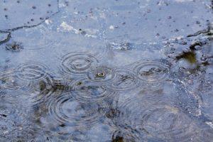 Kuvassa vesipisaroita tippuu vesilammikon päälle.