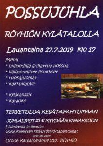 Possujuhla röyhiön kylätalolla 27.7.2019