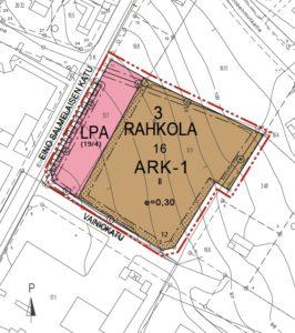 Karttakuva Rahkolan kaupunginosan Sasky koulutuskuntayhtymän autopaikkojen korttelialue.