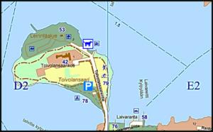 Karttakuva johon merkitty koirien uimapaikka.